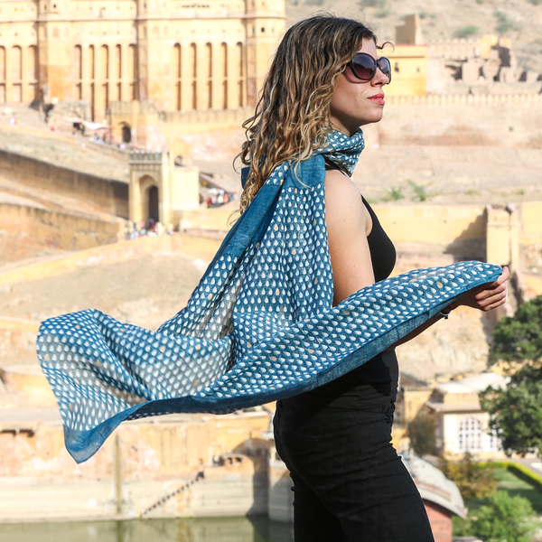 Monsoon - मानसून Scarf in indigo and metallic gold