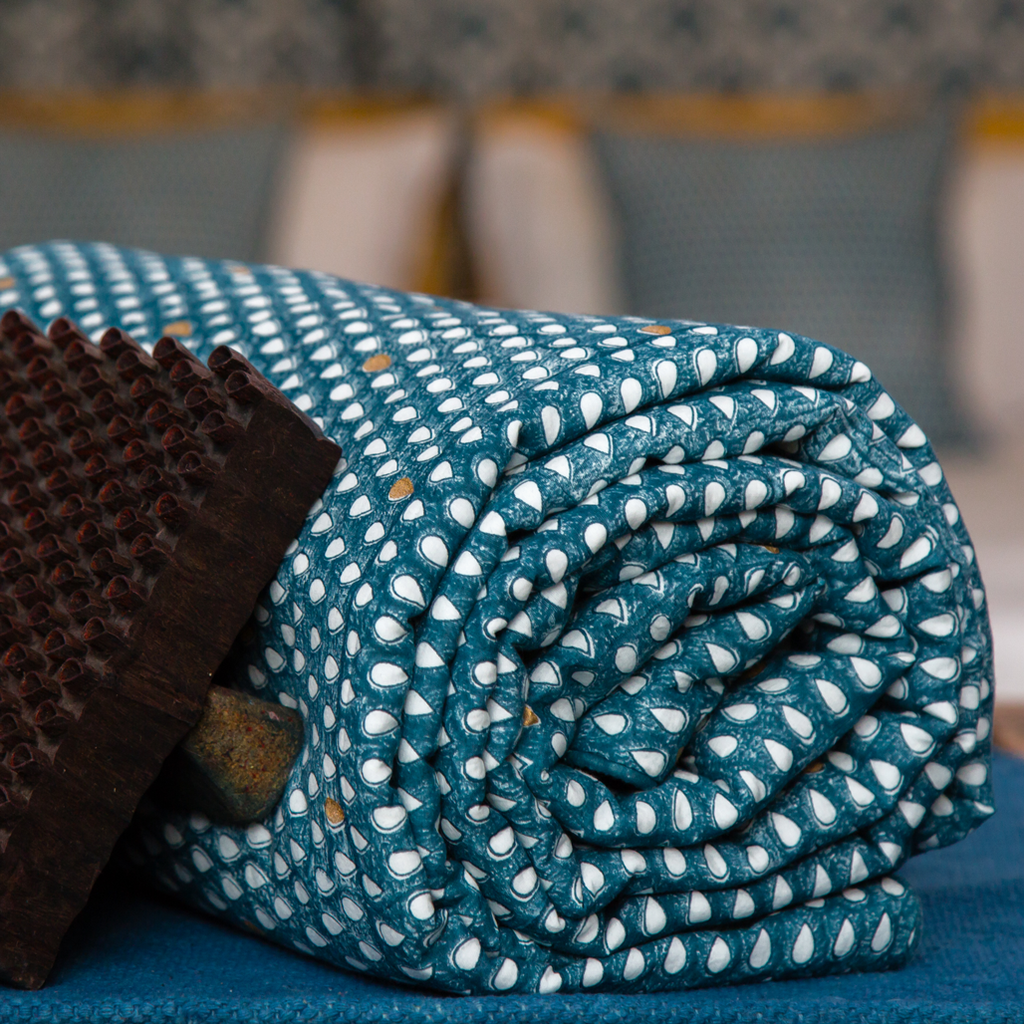 Monsoon - मानसून Throw / Blanket in indigo and metallic gold