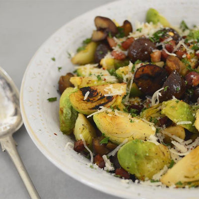 Brussell Sprouts with Chestnuts, Pancetta & Garlic