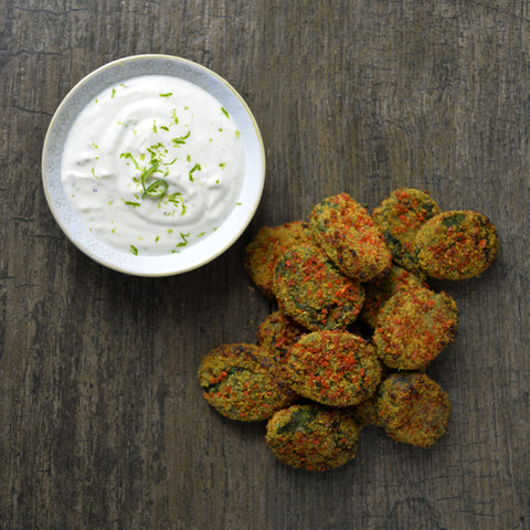 Strong Roots Spinach Bites with Lemongrass Dip