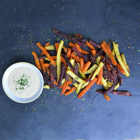 Strong Roots Mixed Root Vegetable Fries with Garlic Dip