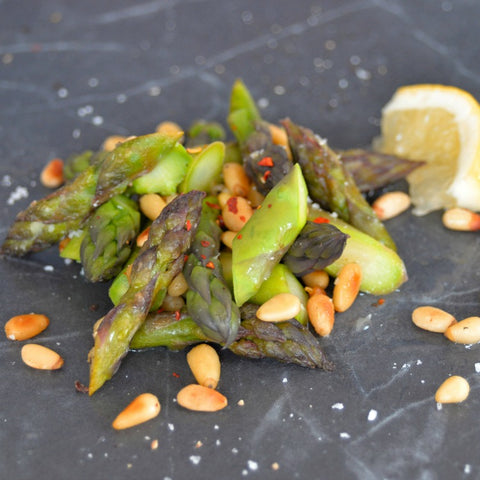 Asparagus in brown butter with pinenuts