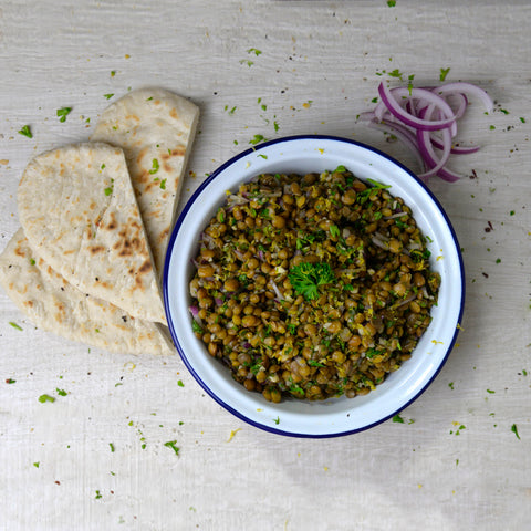 garlic lentils. easy mezze recipes. gourmet frozen food delivered