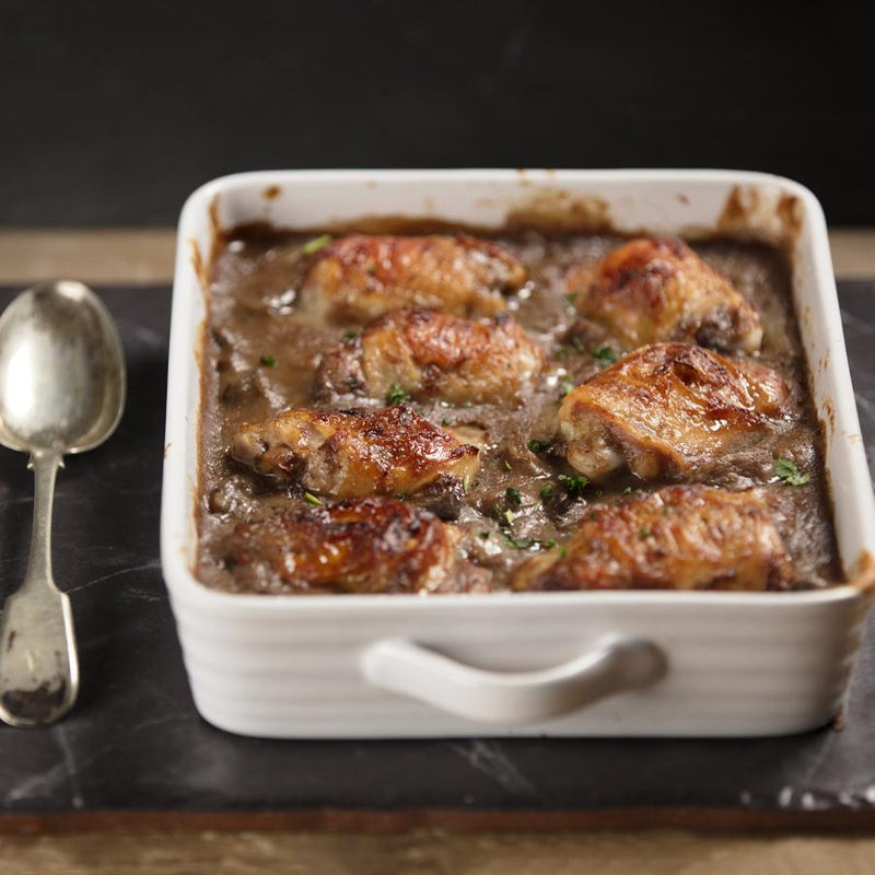 Gourmet frozen ready meals delivered direct. Coq Au Vin from Thyme.