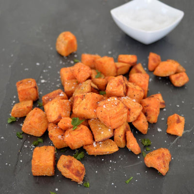 Garlic Roasted Sweet Potato Chunks (V+)