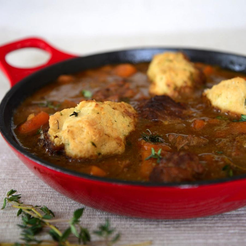 Delicious frozen ready meals. Traditional Beef Stew and Dumplings. Gourmet Frozen Food from Thyme