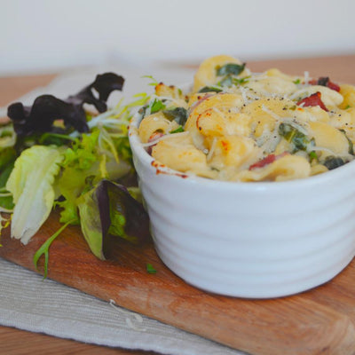 Macaroni Cheese with Kale & Pancetta - Serves 2