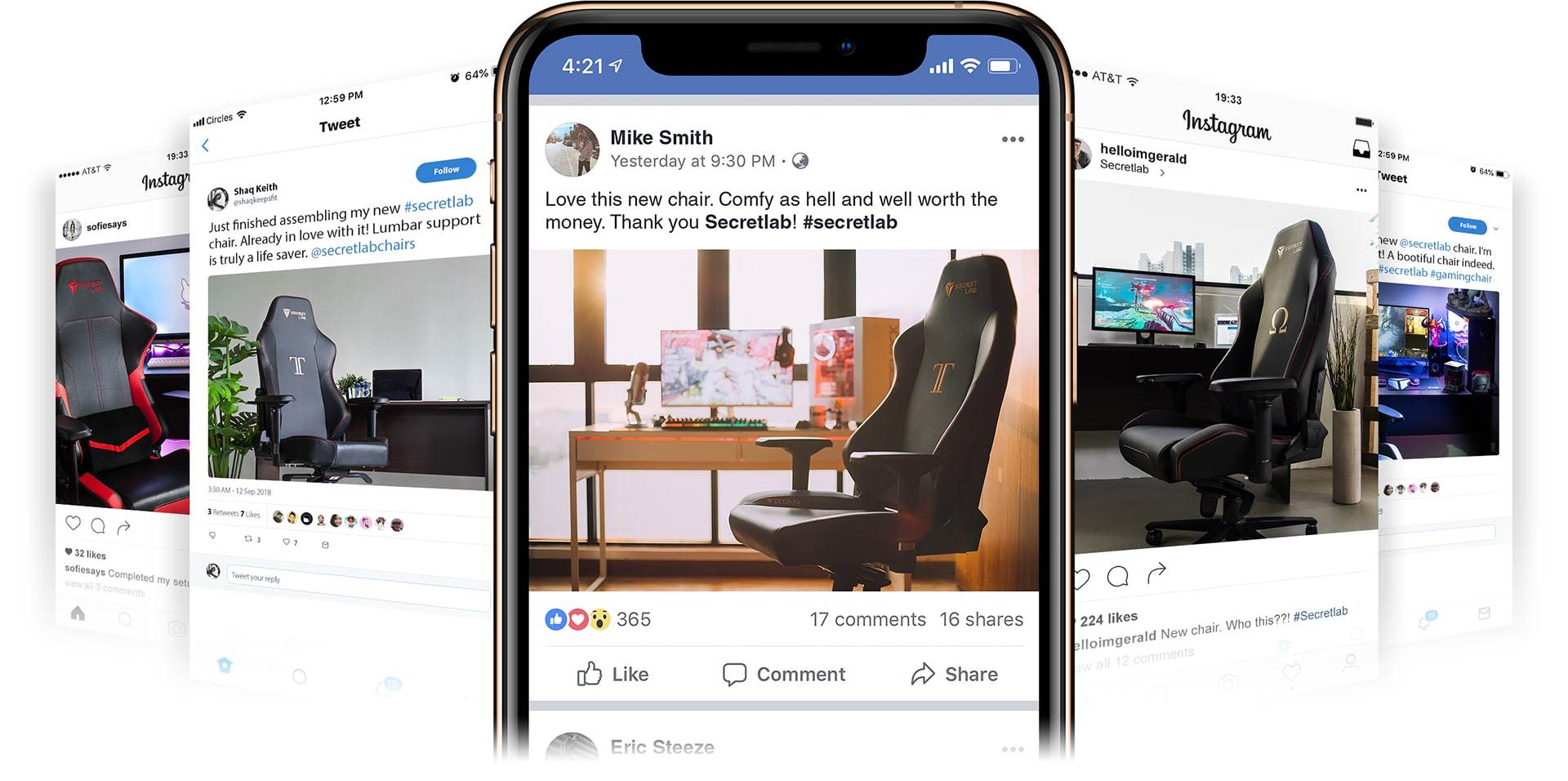 Set of social media posts of Secretlab Chairs gaming chairs.