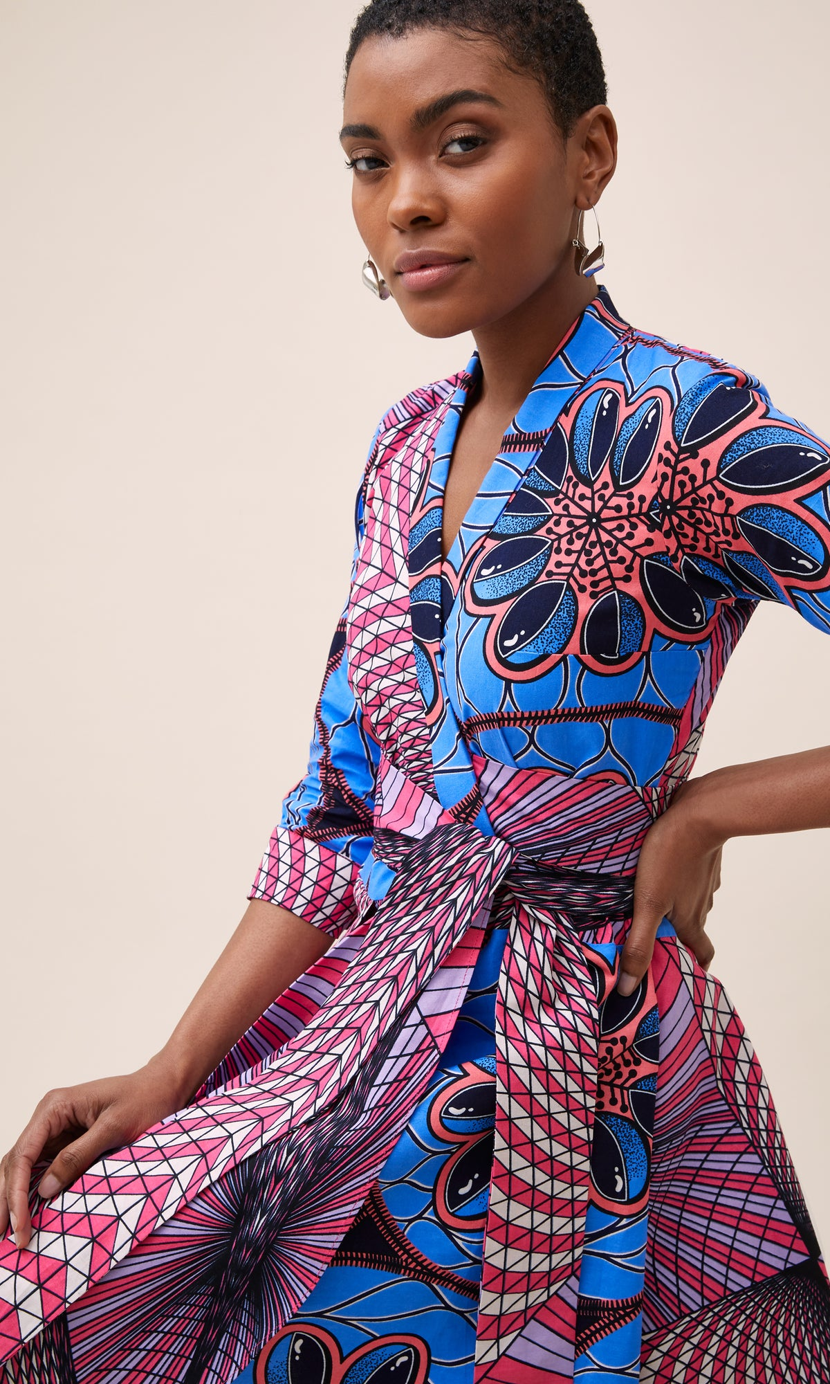 MULTI-PRINT WRAP DRESS IN PINK AND BLUE