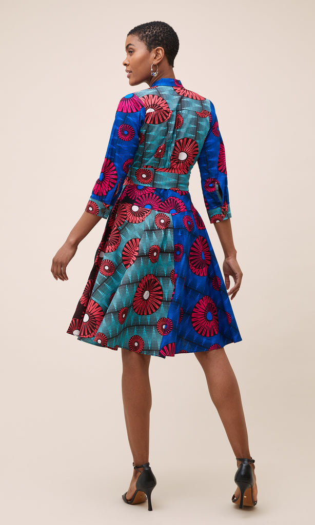 MULTI-PRINT WRAP DRESS IN BLUE AND RED