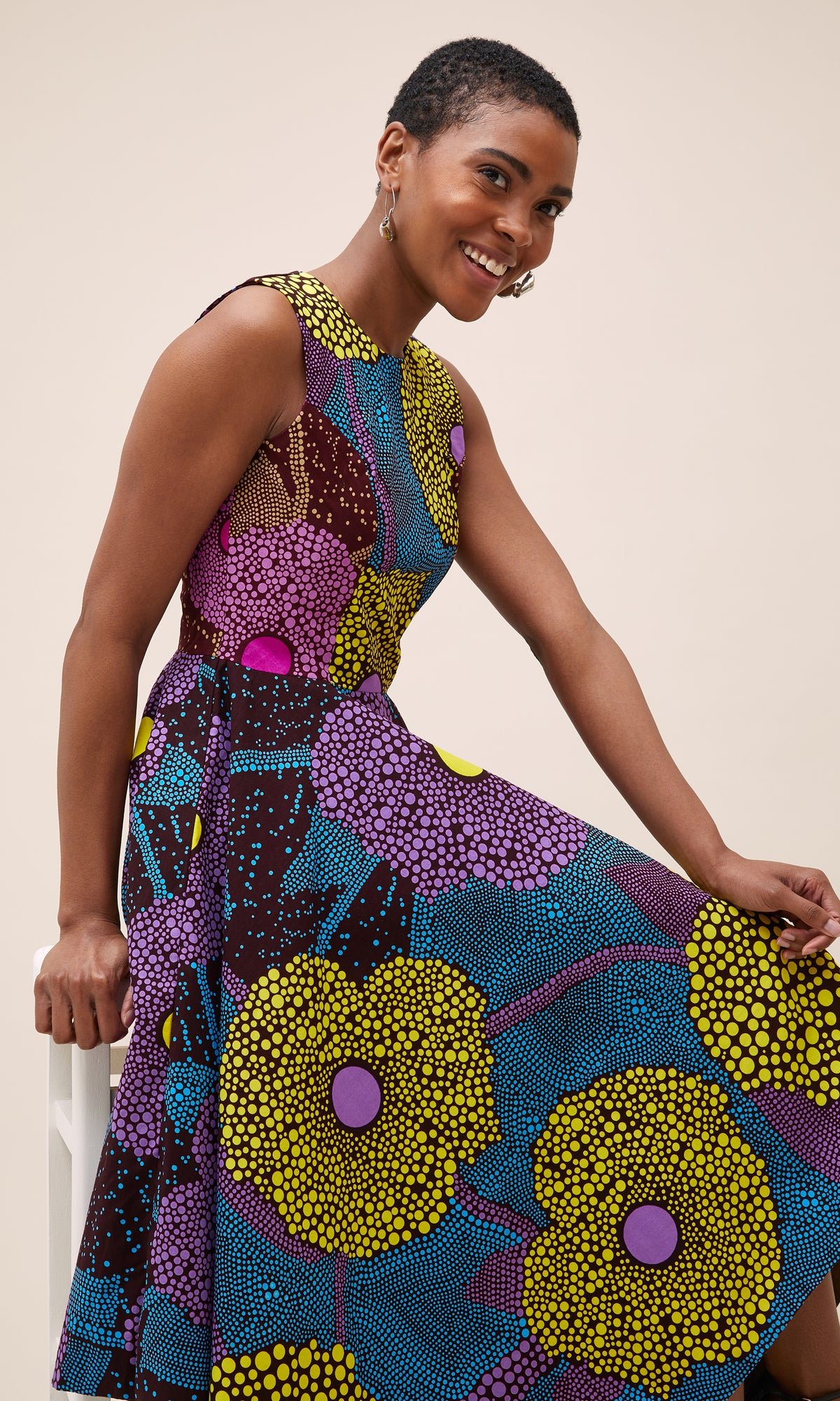 JAGA JAGA MIDI DRESS IN PURPLE AND YELLOW