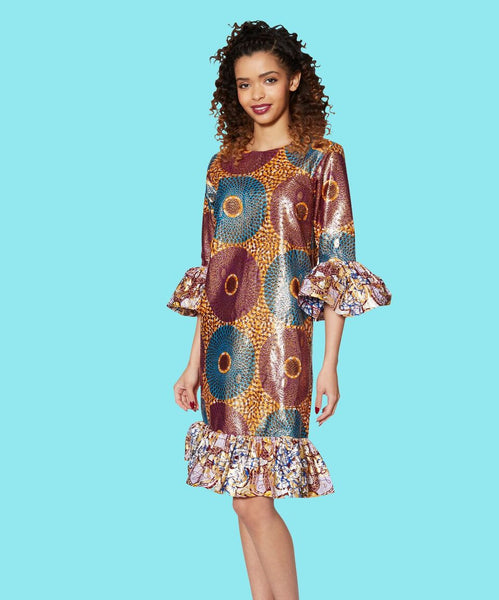 Chi Chi Shift Dress with Gold