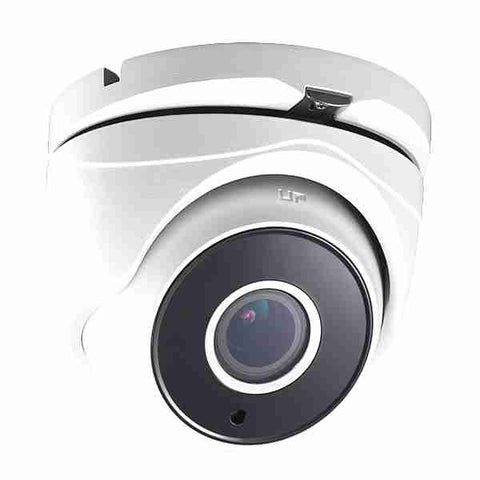 2MP HD TVI 1080p Advanced WDR Armored Turret Dome Camera, Vari-focal, Motorized, White