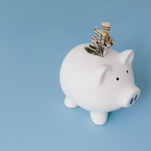 Piggy bank with notes