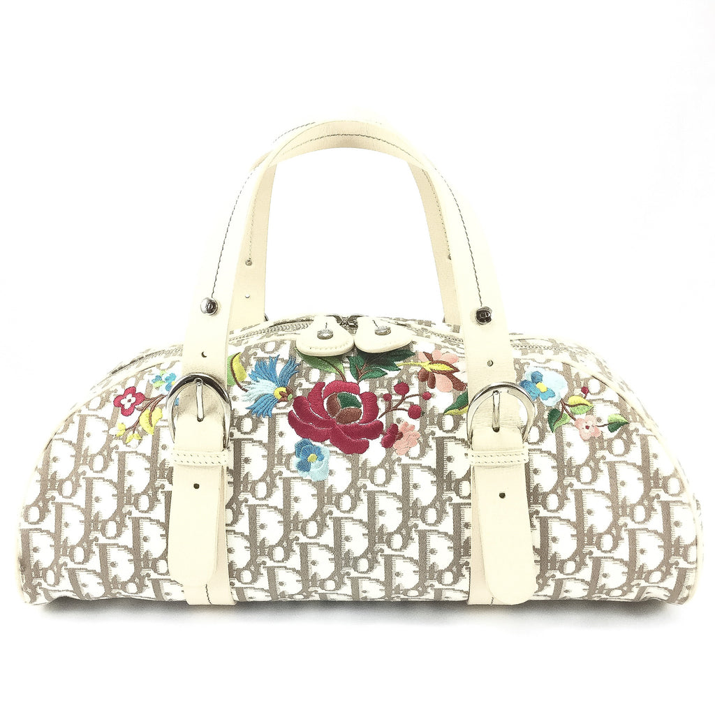 Dior Monogram and Vintage Flowers Bowling Bag front view