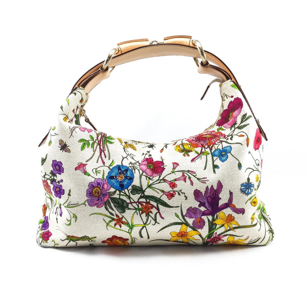 Gucci Floral Horsebit Hobo front view