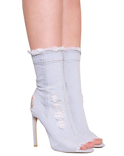 Huiyuzhi Womens Distressed Denim Open Toe High Heel Cutout Calf High Boots