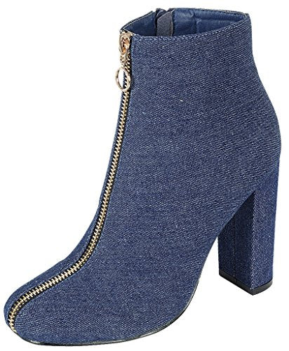 Forever Link Women's Front Zipper Pull Chunky Stacked Block Heel Ankle Bootie,9 B(M) US,Denim