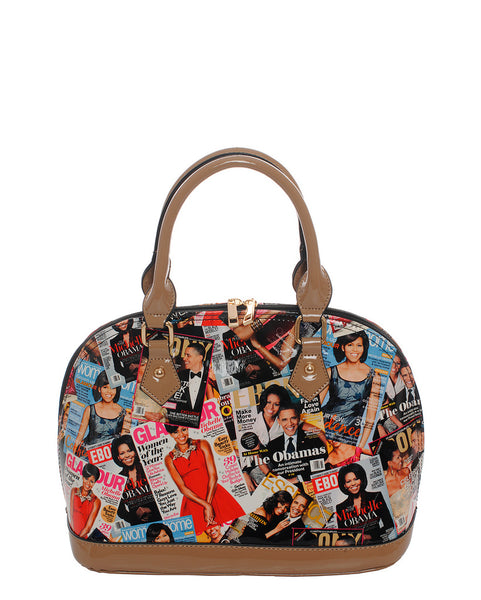 Audrey Magazine Print Fashion Handbag