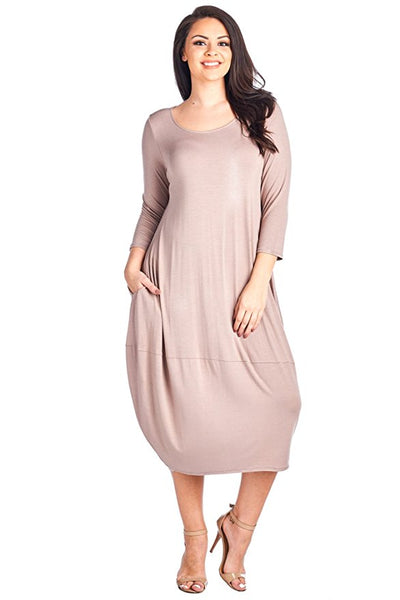 Women's Plus Size 3/4 Sleeve Bubble Hem Pocket Midi Dress