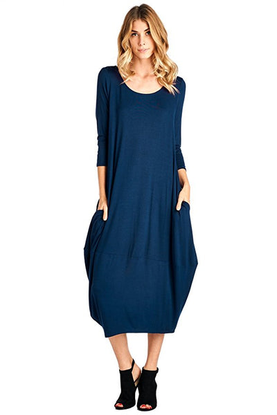 Women's Solid 3/4 Sleeve Bubble Hem Pocket Midi Dress