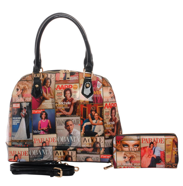 Camela Countess Magazine Print Handbag Set