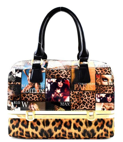 Karlie Coachella Magazine Animal Print Fashion Handbag