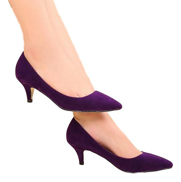 Women's Pointed Toe Kitten Heels Pumps Court Shoes