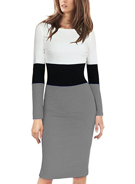 Elegant Women's Long Sleeve Color-Block Wear To Work Dress