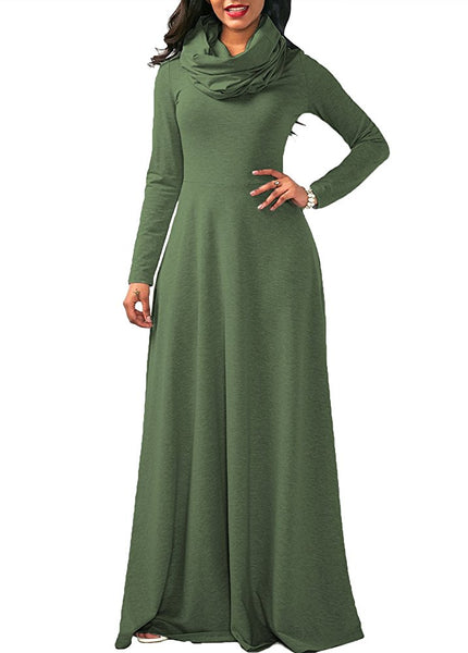 Women's Long Sleeve Cowl Neck Swing Maxi Dress