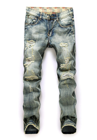 Serein Slim Jeans In Light Blue With Rips