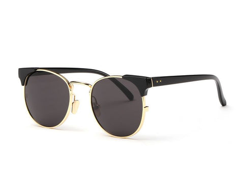 Metal Round Sunglasses With High Bar & Flash Lens