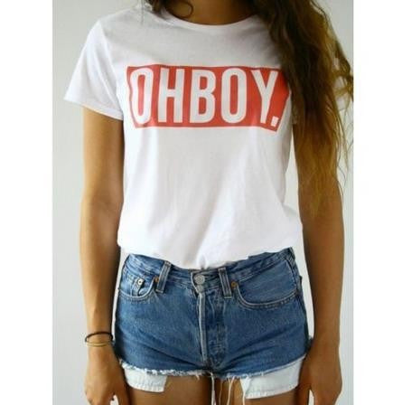 OHBOY. Women White T-shirt
