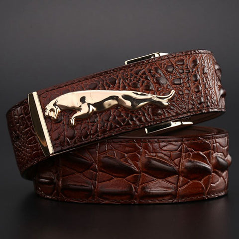 Gold Jaguar Leather Belt