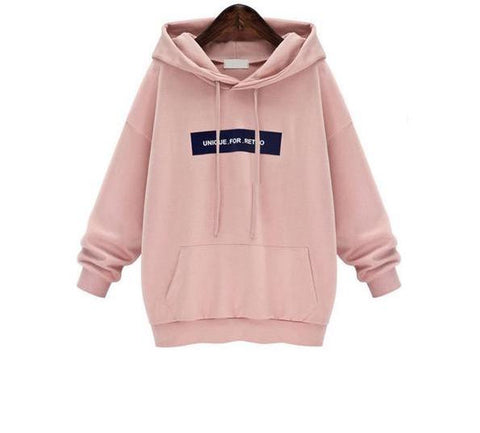 Unique For Retro Hoodie In Pink/Grey