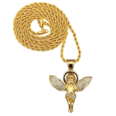 Gold Angel Stainless Necklace