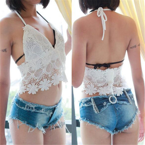 Lace Hollow Navel Crop Top