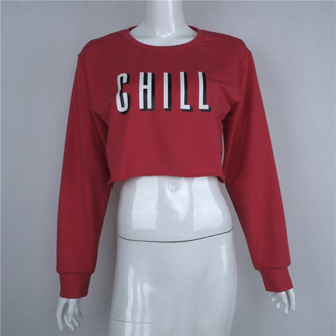 Chill Red Cropped Sweatshirt