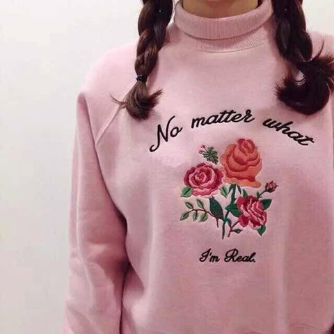 No Matter What Retro High-Necked Embroidered Roses Sweatshirt