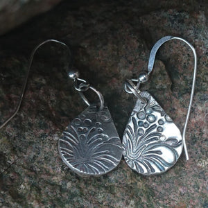 Silver lavender earrings