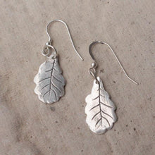 Load image into Gallery viewer, Silver oak leaf earrings