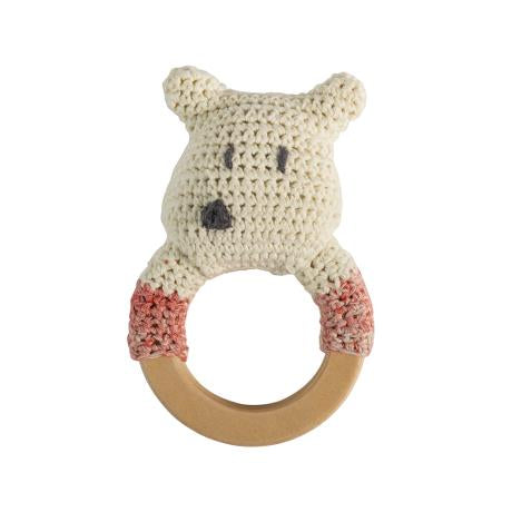 Crochet rattle,polarbear on ring