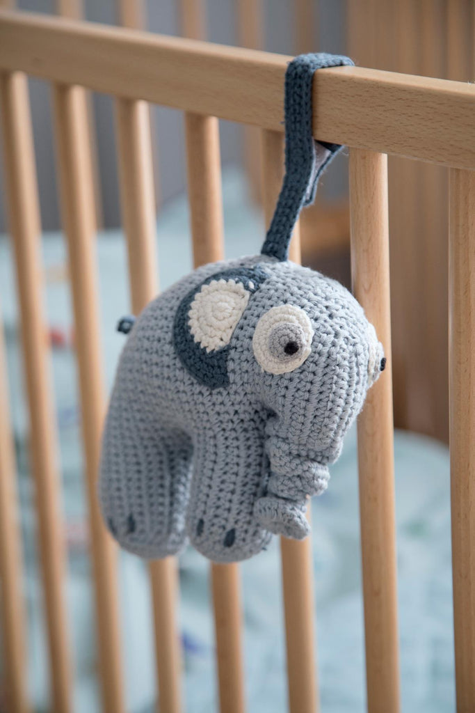 Crochet Musical Pull Toy, Elephant, Royal Blue