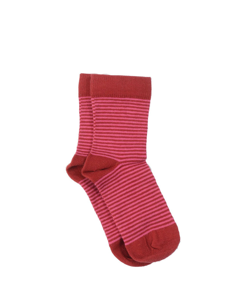 ANKLE SOCKS,STRIPED RED/PINK