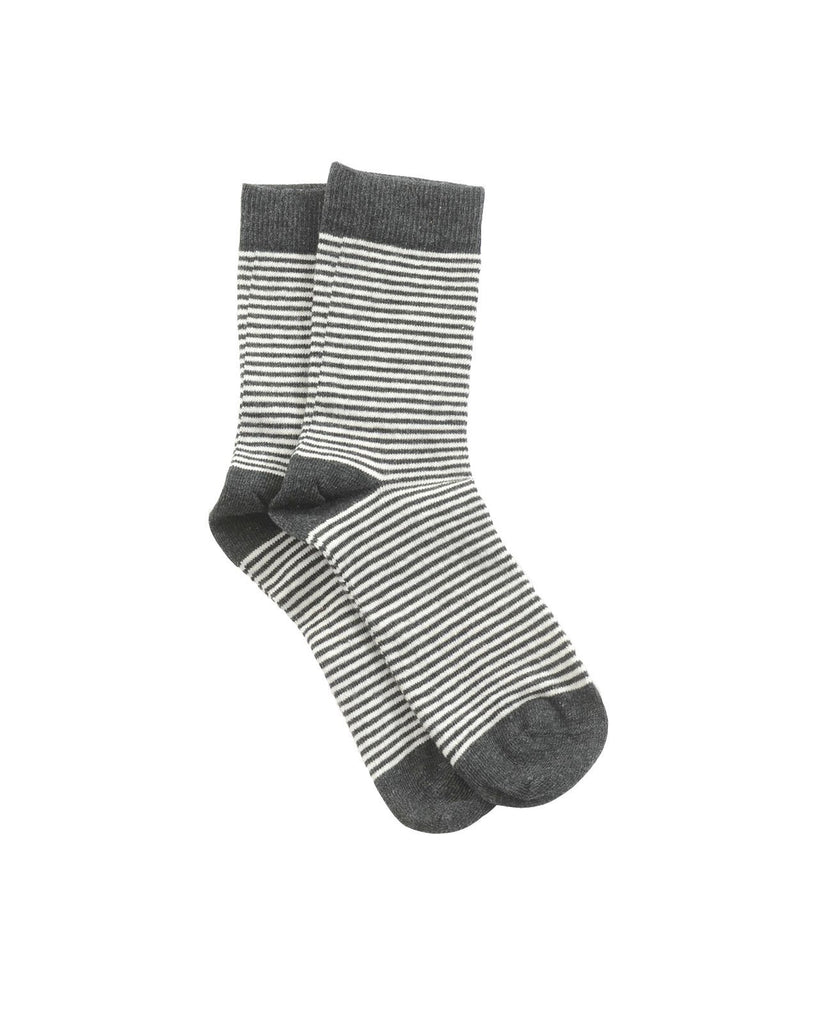 ANKLE SOCKS,STRIPED ANTRAZIT OFF WHITE