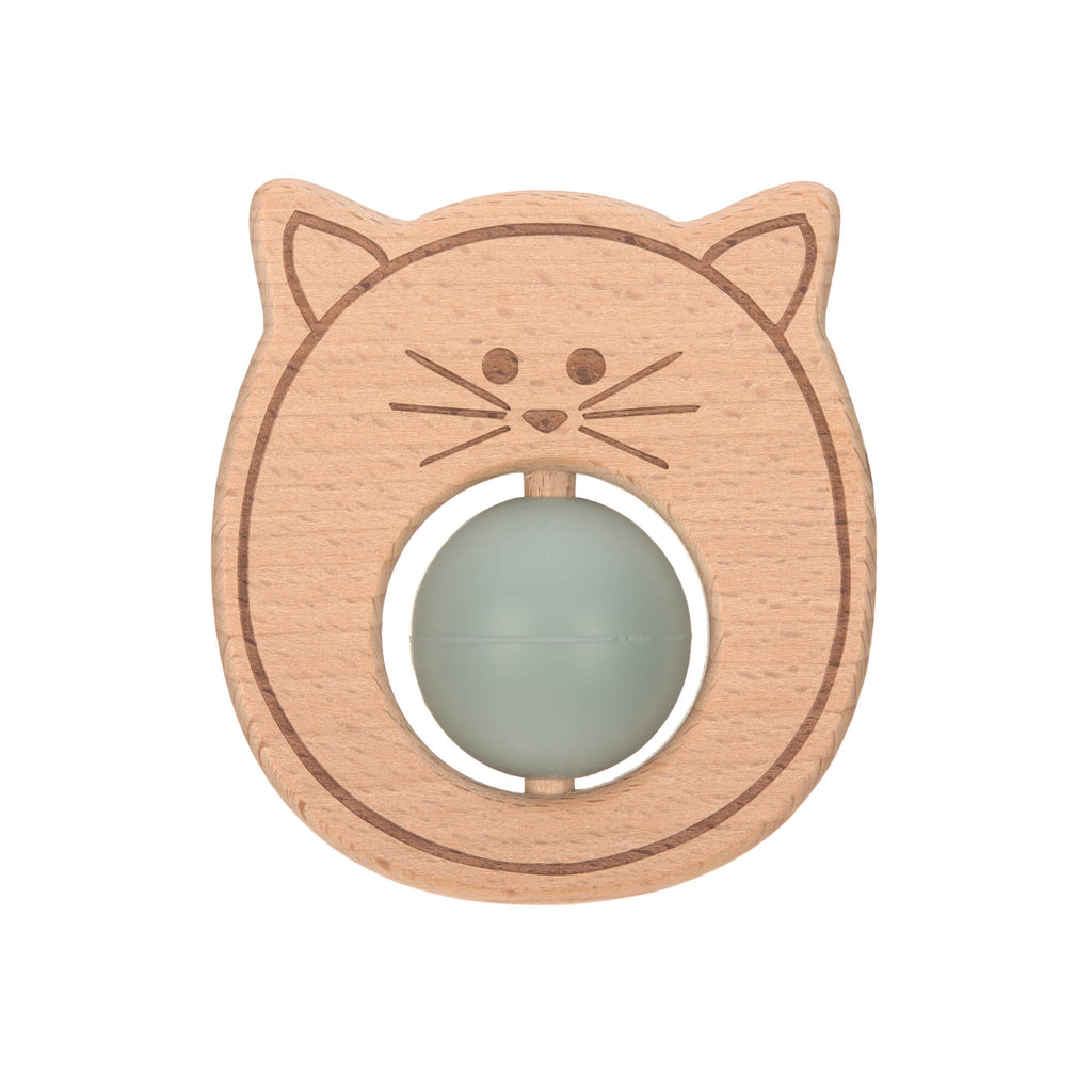 Teether Ball Wood/Silicone Little Chums Cat