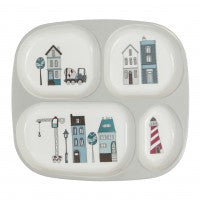 Melamine plate w/4 rooms,Village boy