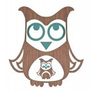 Wooden mobile Turquoise owl