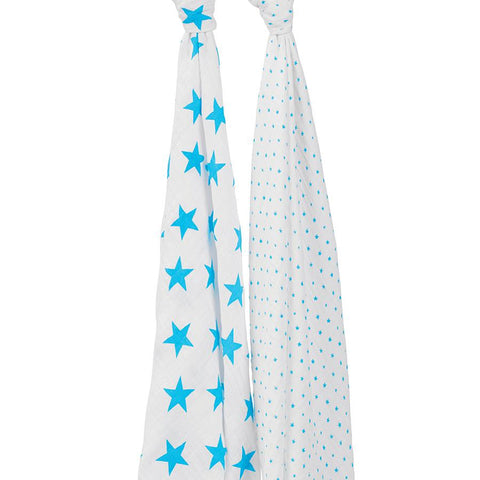 fluro blue swaddle 2 pack