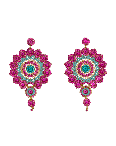 Peacock Earrings Fuchsia